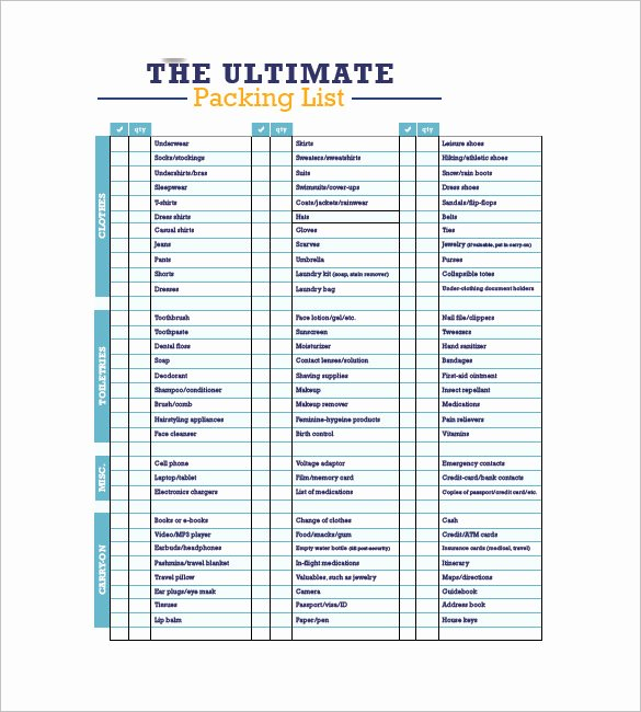 Blank Packing List Template Elegant Packing List Template 10 Free Word Excel Pdf format