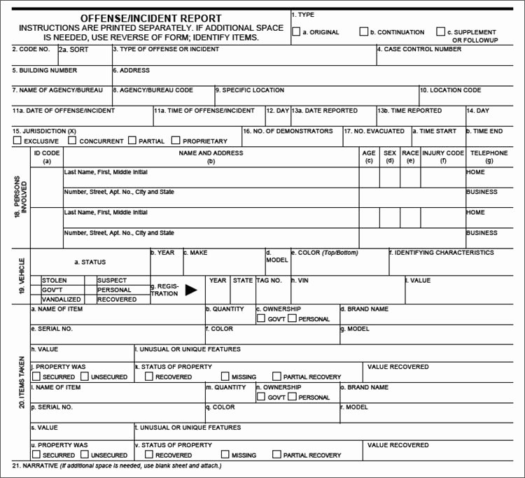 Blank Police Report Template Fresh Crime Report Template Sample Police Report Template Word