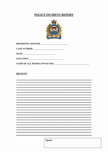 Blank Police Report Template Inspirational Police Incident Report form by Gibboanseo Teaching
