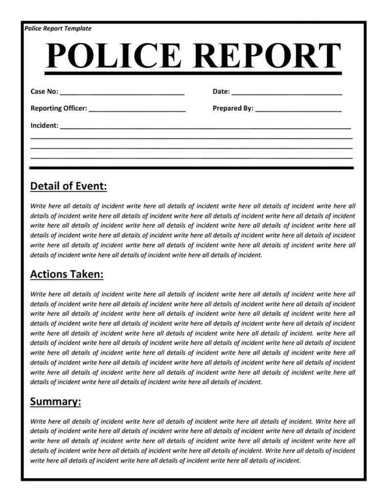 Blank Police Report Template Inspirational Police Report Templates 8 Free Blank Samples Template