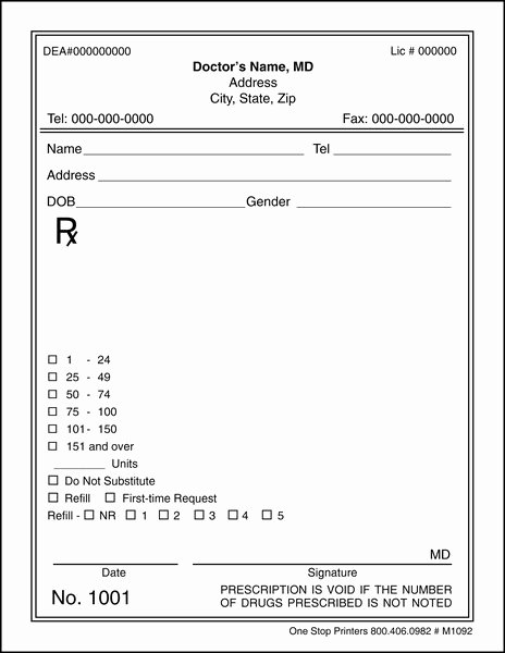Blank Prescription Pad Template Luxury Doctor S Rx Pads & Slips with Security Paper M1092