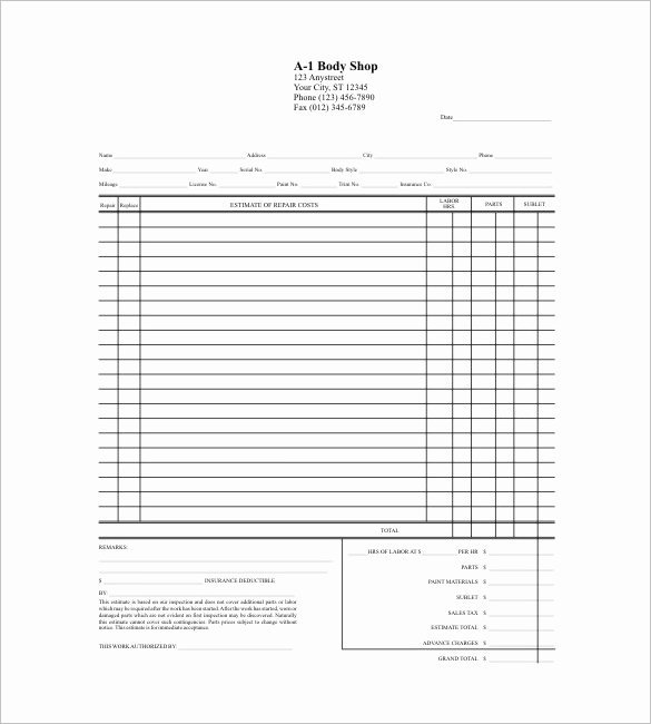 Blank Quote Template New Blank Estimate Template – 23 Free Word Pdf Excel Google