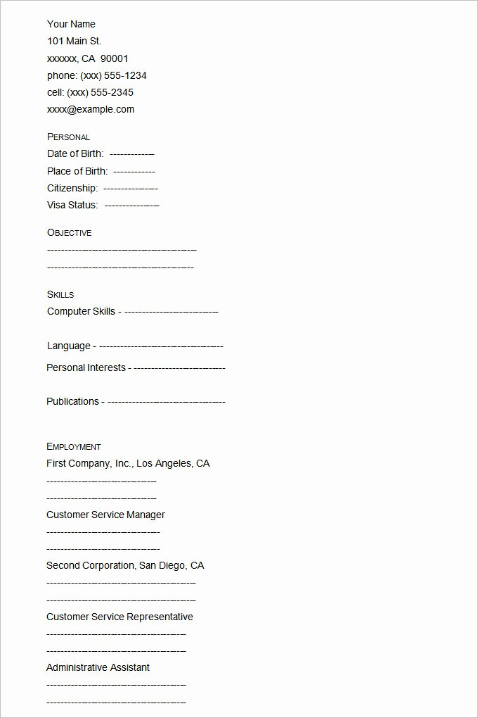 Blank Resume Template Pdf Awesome 46 Blank Resume Templates Doc Pdf