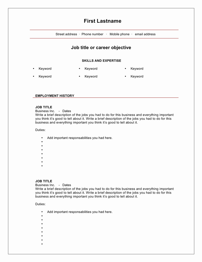 Blank Resume Template Pdf Inspirational Blank Cv Template Free Documents for Pdf Word