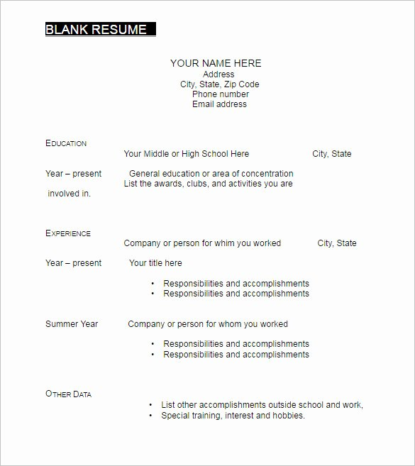 Blank Resume Template Pdf Lovely 22 Blank Resume Templates Free Pdf Word Documents
