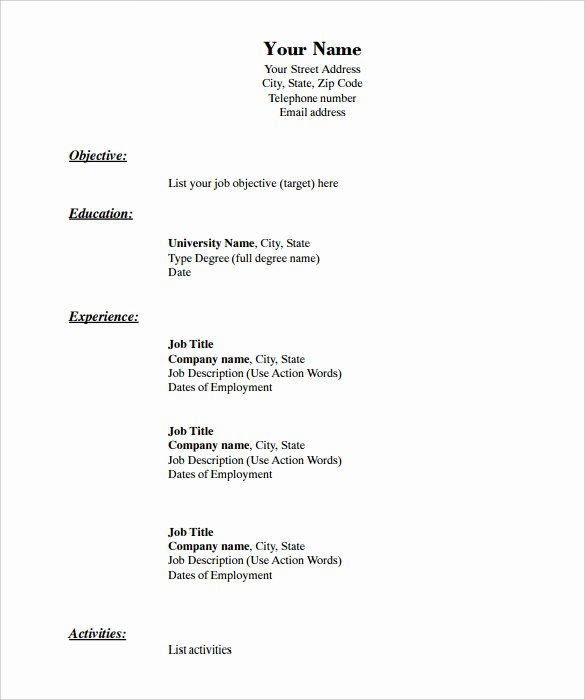 Blank Resume Template Pdf Luxury 46 Blank Resume Templates Doc Pdf