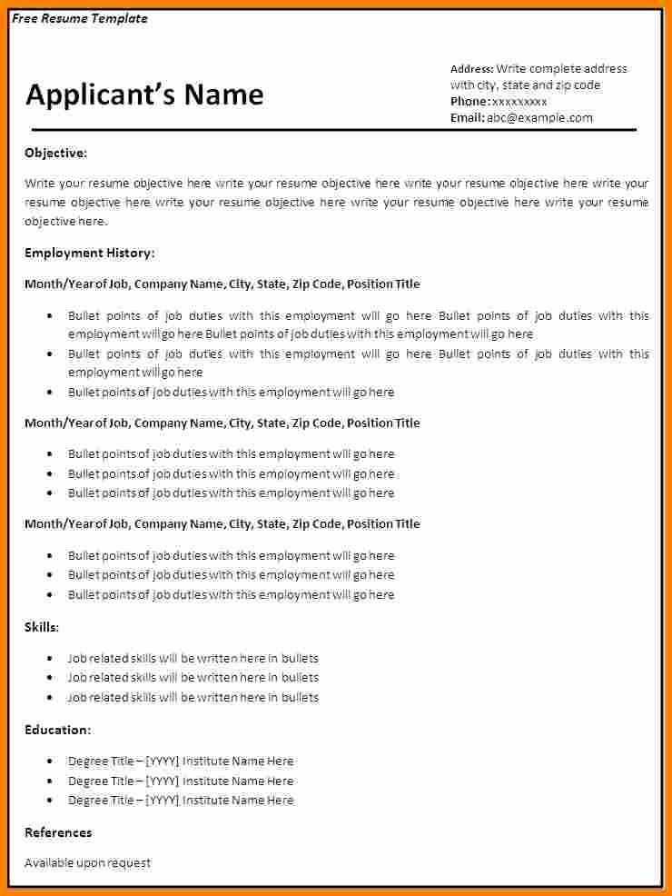 Blank Resume Template Pdf New 8 Blank Basic Resume Templates