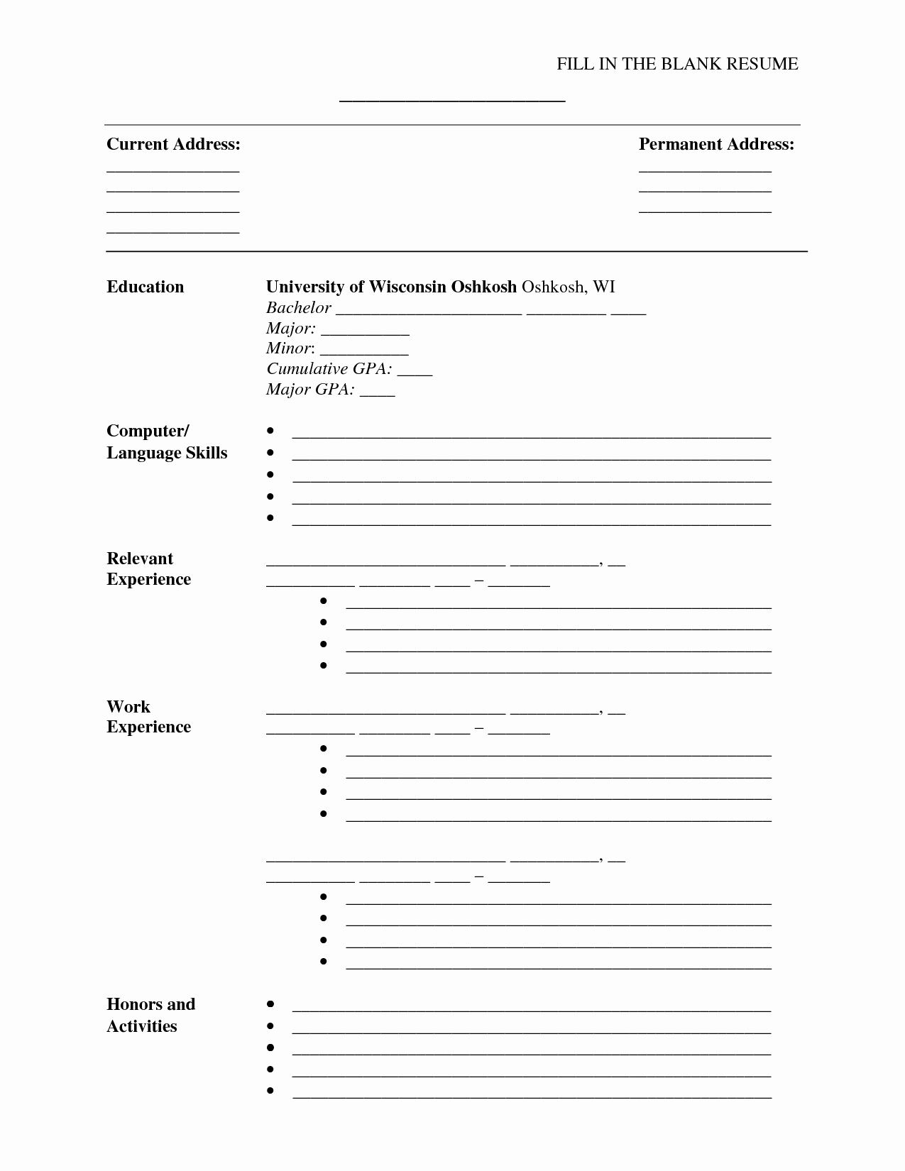 Blank Resume Template Pdf New Fill In the Blank Resume Pdf Umecareer