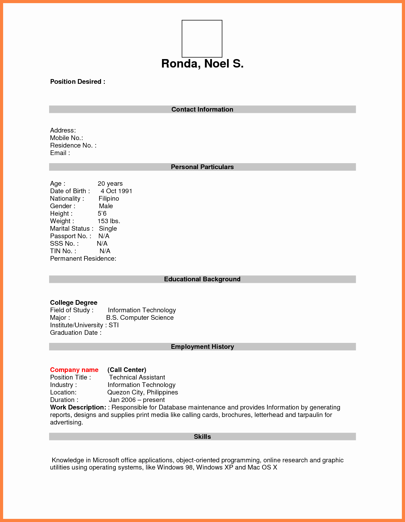 Blank Resume Template Pdf Unique format for Job Application Pdf Basic Appication Letter