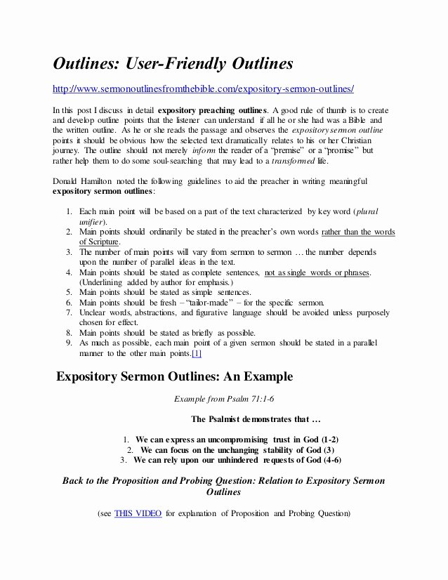 Blank Sermon Outline Template Awesome Expository Sermon Outlines Bing Images