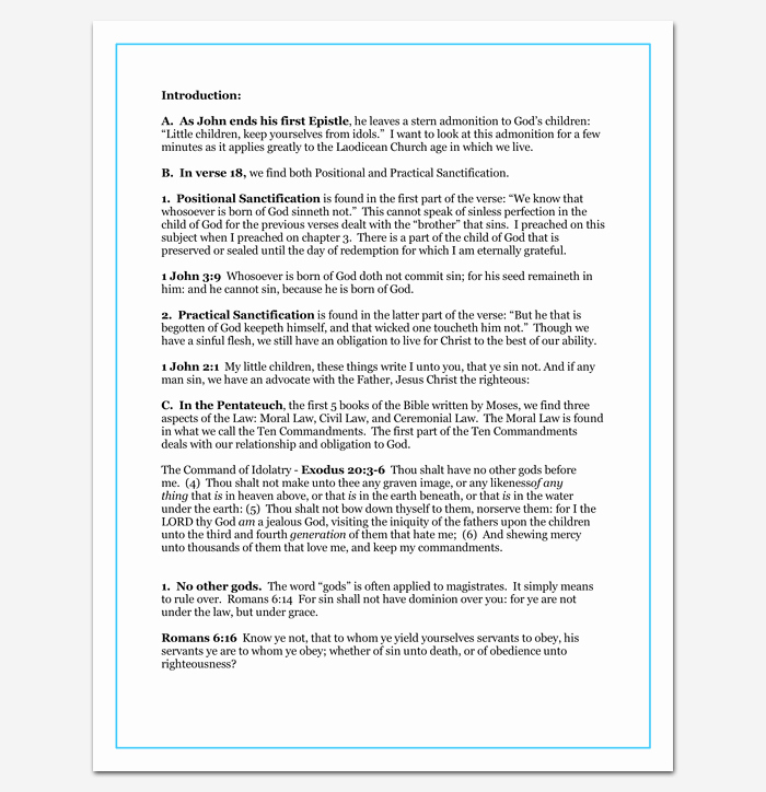 Blank Sermon Outline Template Best Of Sermon Outline Template 12 for Word and Pdf format