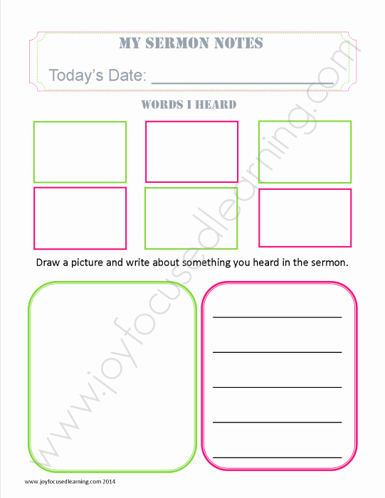 Blank Sermon Outline Template New Free Sermon Notes Printable Joy Focused Learning
