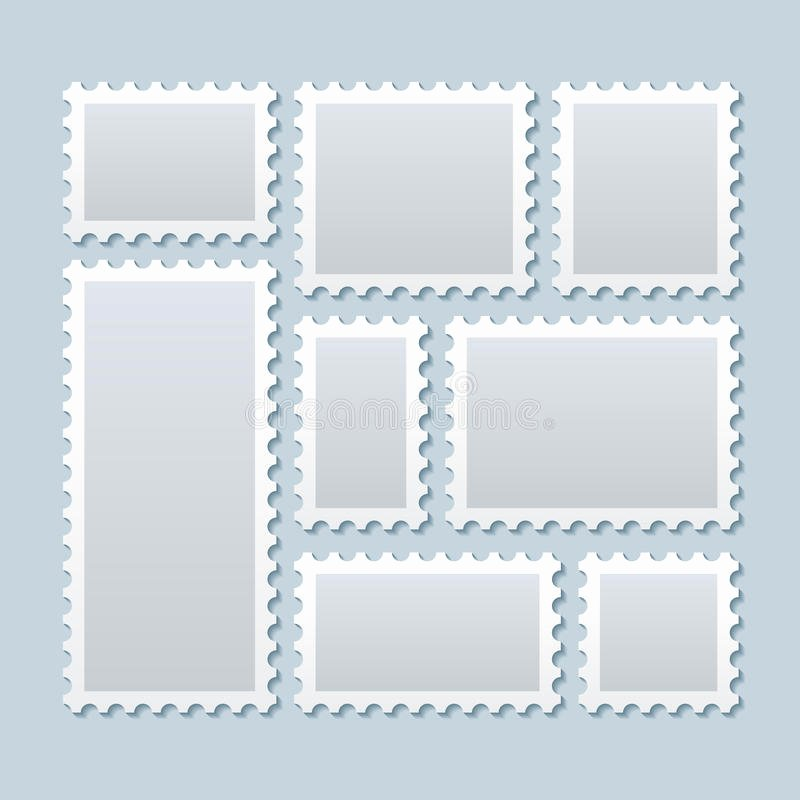 Blank Stamp Template Unique Blank Postage Stamps In Different Size Vector Template