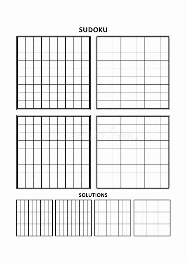 Blank Sudoku Grid Printable Beautiful Sudoku Template Four Grids with solutions A4 Letter