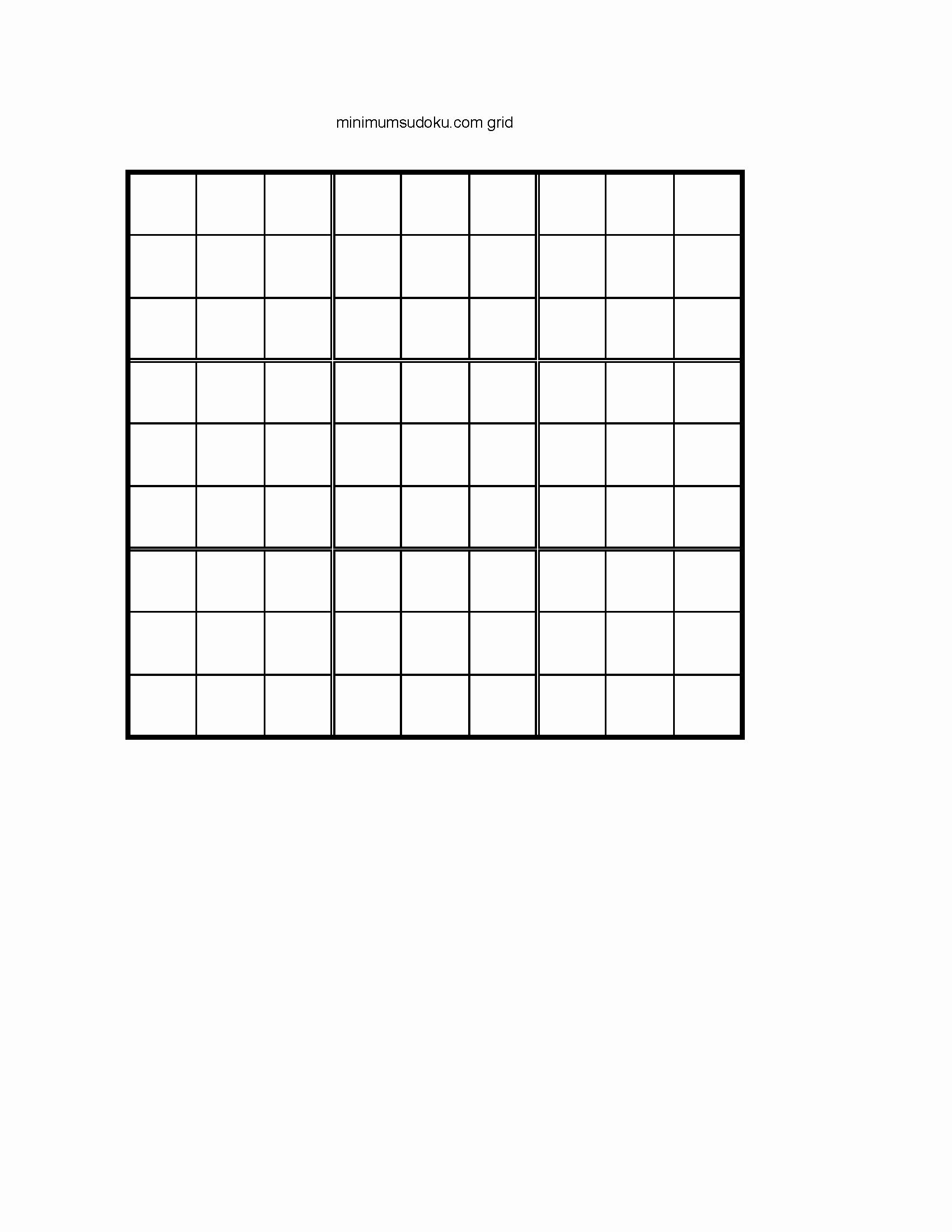 Blank Sudoku Grid Printable New Minimum Sudoku
