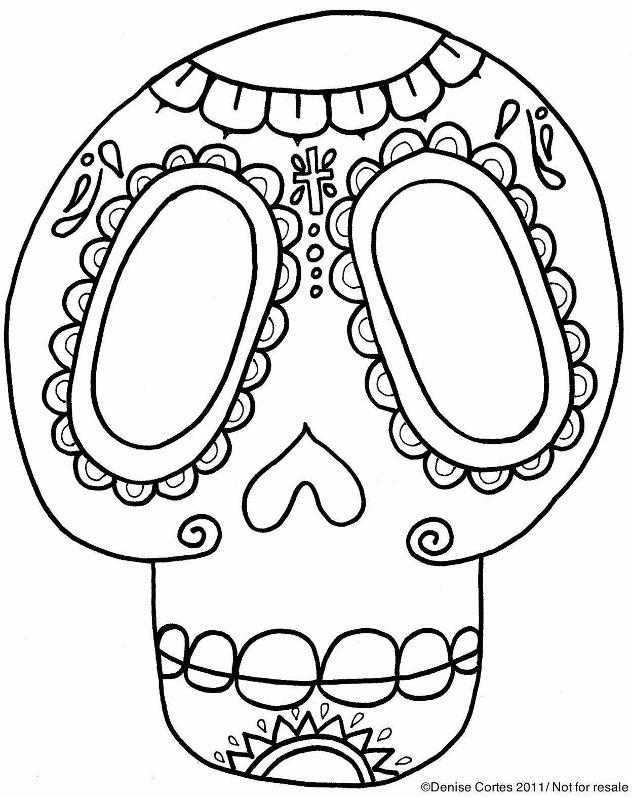 Blank Sugar Skull Template Lovely Modern Art 4 Kids