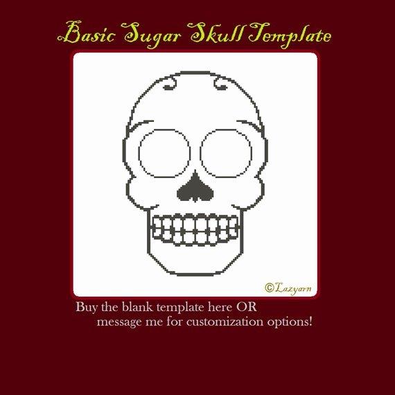 Blank Sugar Skull Template Luxury Blank Sugar Skull Cross Stitch Pattern Template by