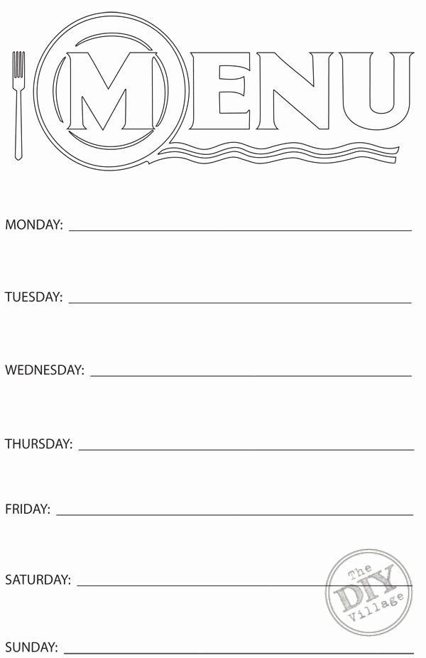 Blank Weekly Menu Awesome Free Printable Weekly Menu Planner