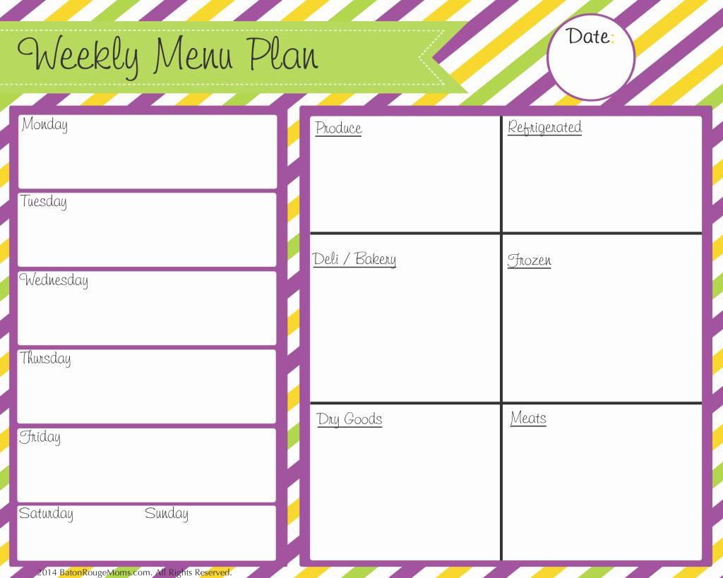 Blank Weekly Menu Best Of Free Menu Cleaning and Planning Printables