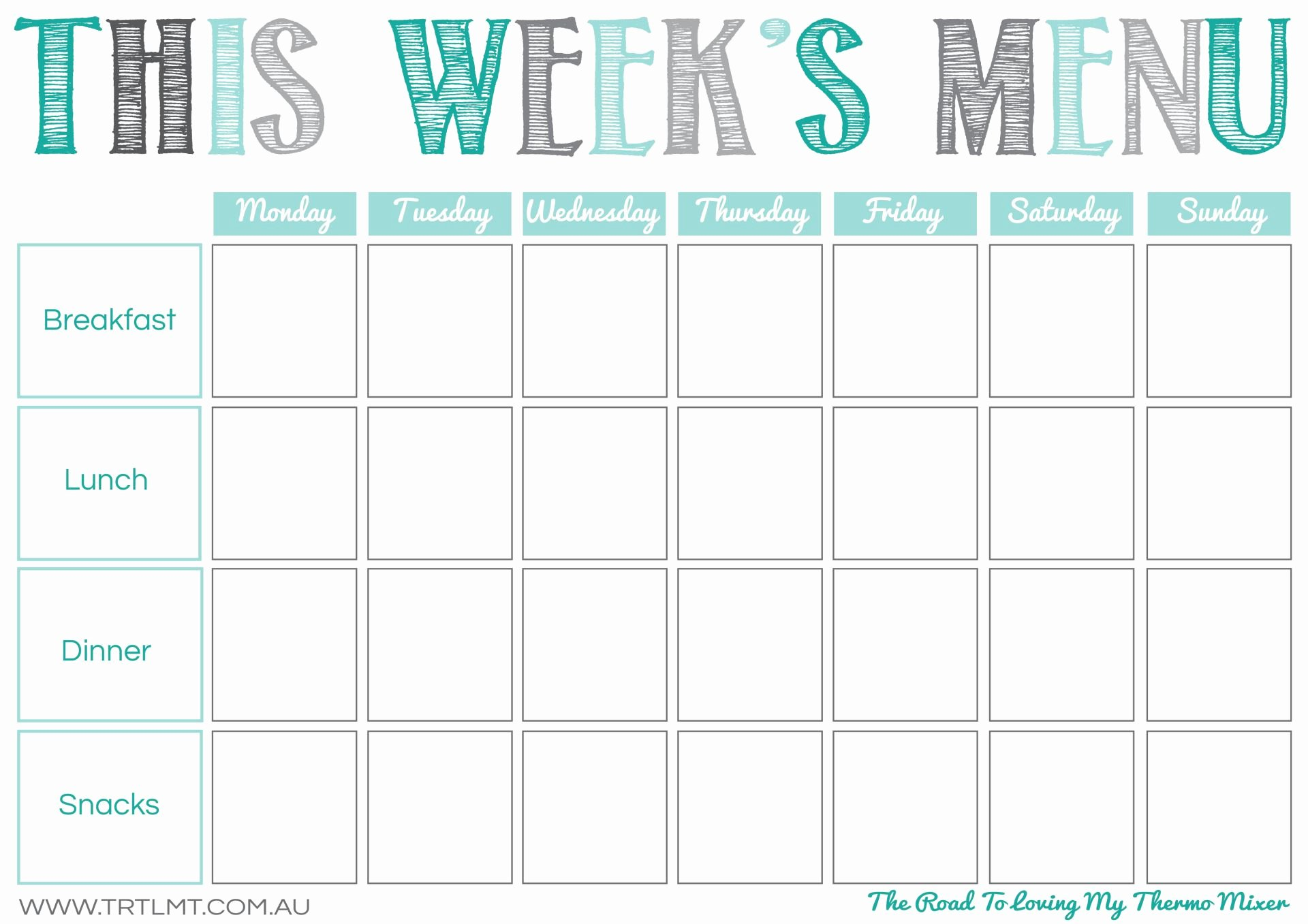 Blank Weekly Menu Best Of Printables – the Road to Loving My thermo Mixer