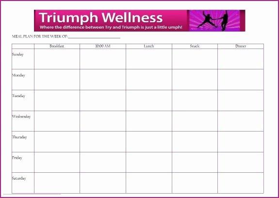 Blank Weekly Menu Fresh Free Meal Planning Template Triumph Wellness