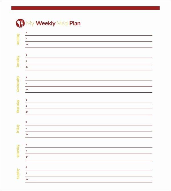 Blank Weekly Menu Lovely 18 Meal Planning Templates Pdf Excel Word