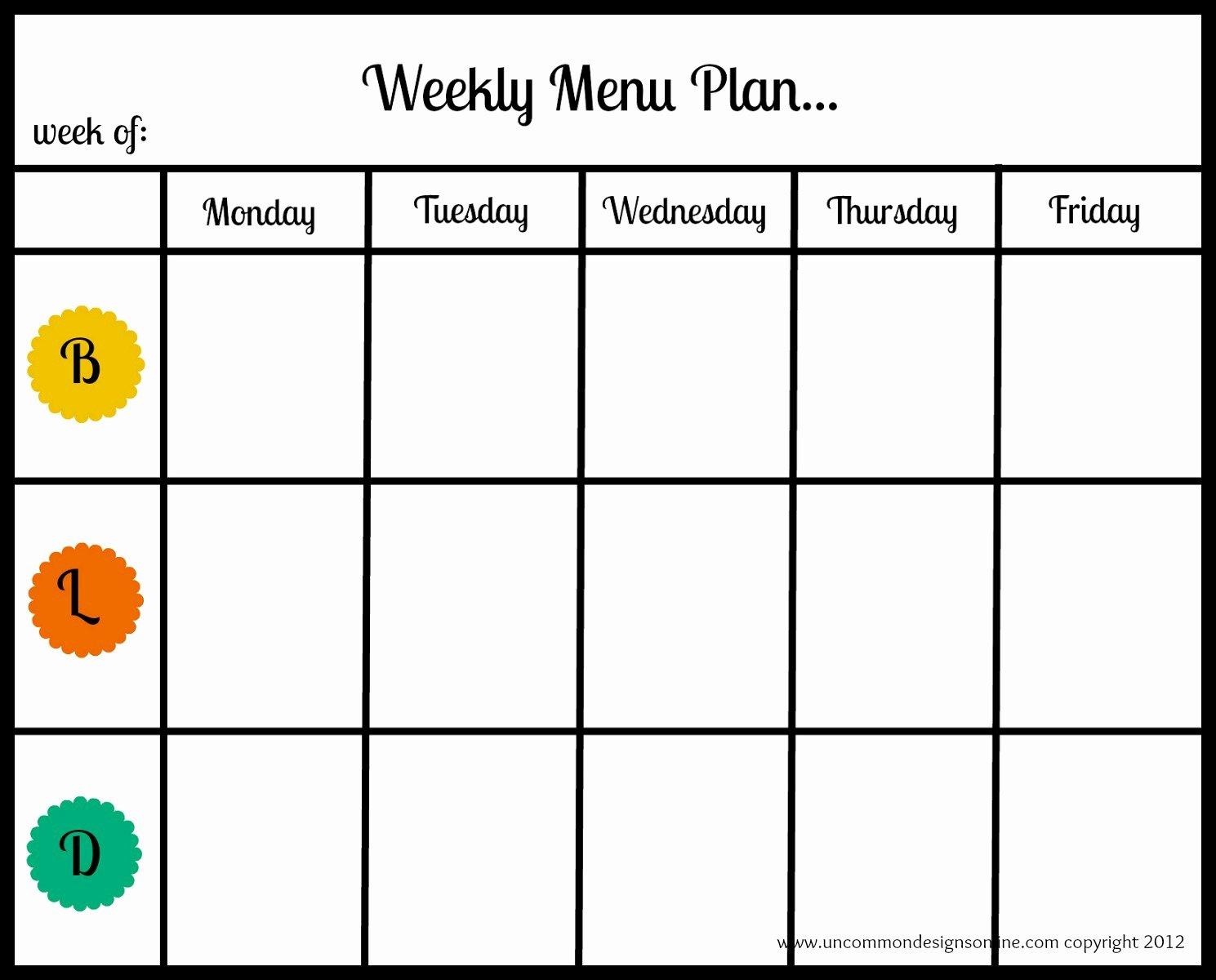Blank Weekly Menu Lovely Blank Menu Planner Cake Ideas and Designs