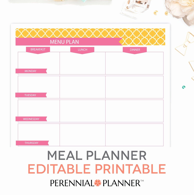 Blank Weekly Menu Luxury Menu Plan Weekly Meal Planning Template Printable Editable