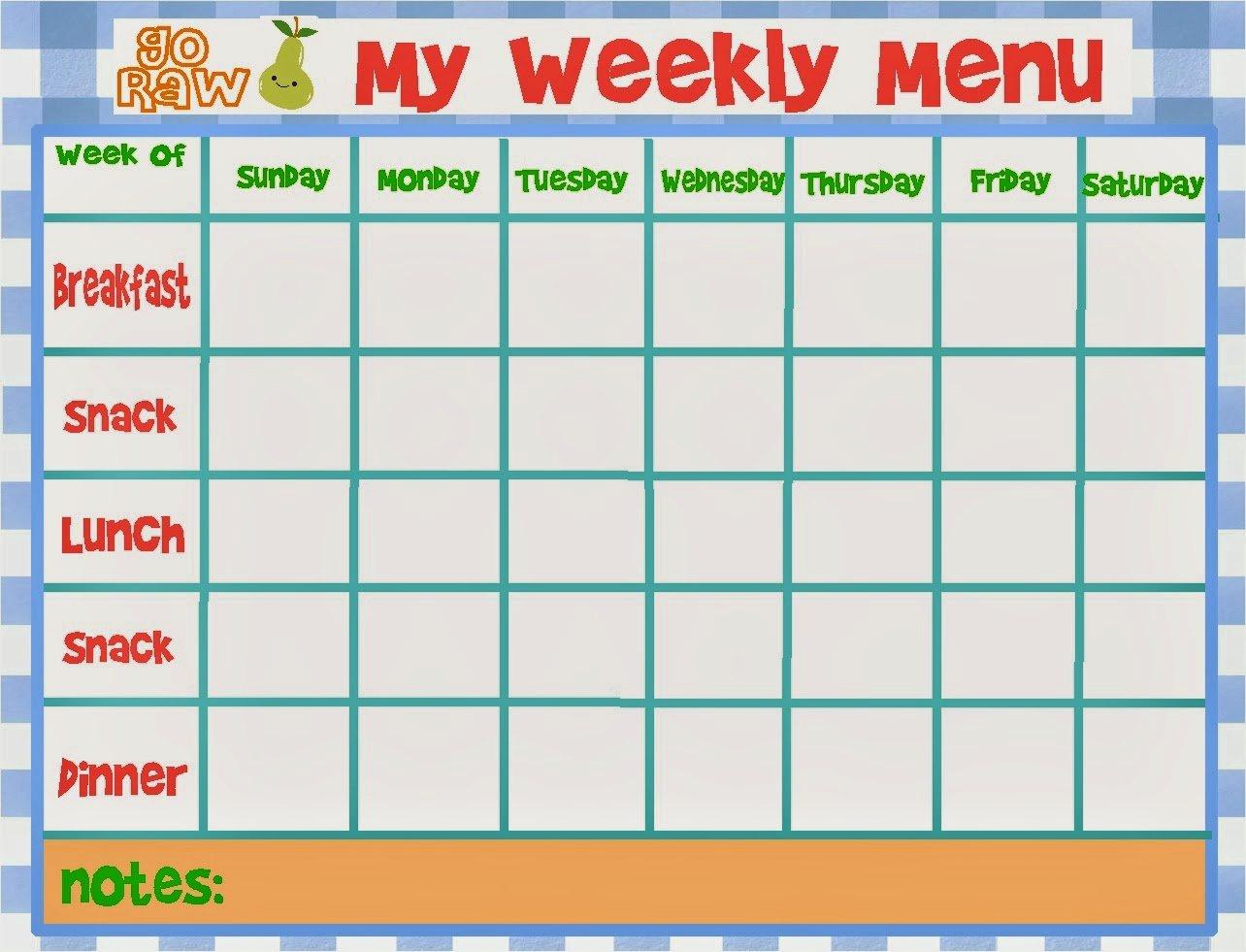 Blank Weekly Menu Luxury Weekly Menu Template