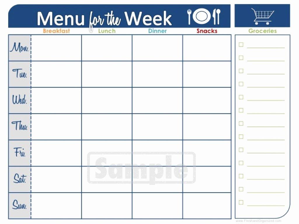 Blank Weekly Menu New Food