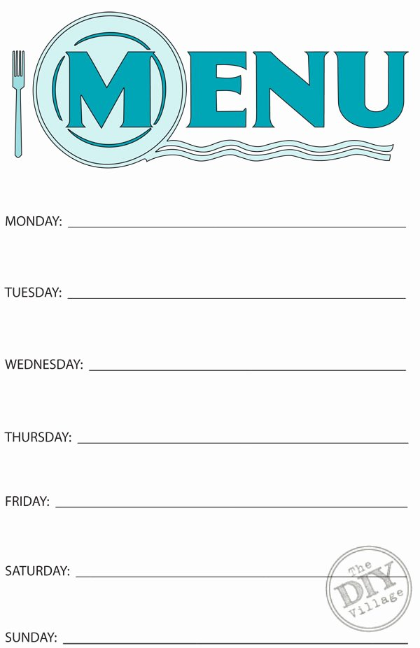 Blank Weekly Menu Template Awesome Free Printable Weekly Menu Planner the Diy Village