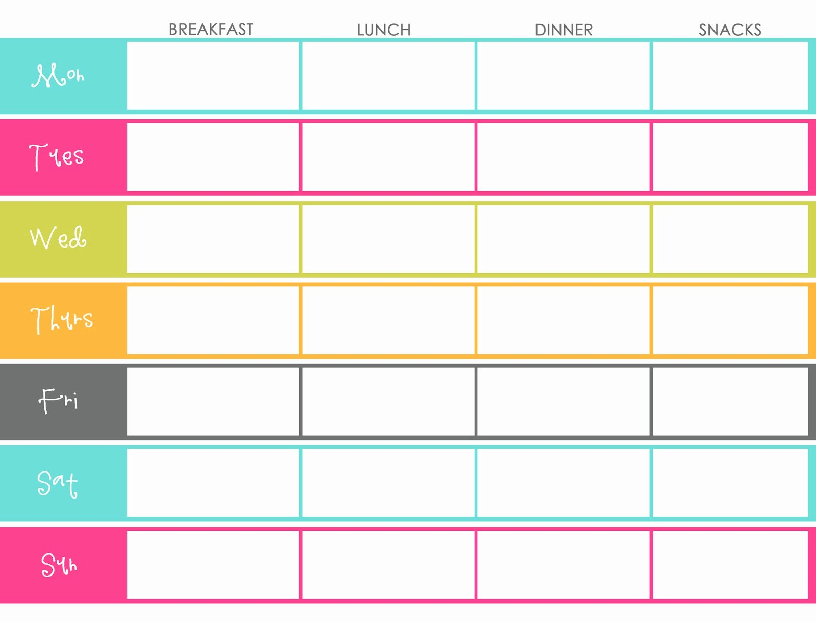 Blank Weekly Menu Template Elegant Little Housewife Meal Planning