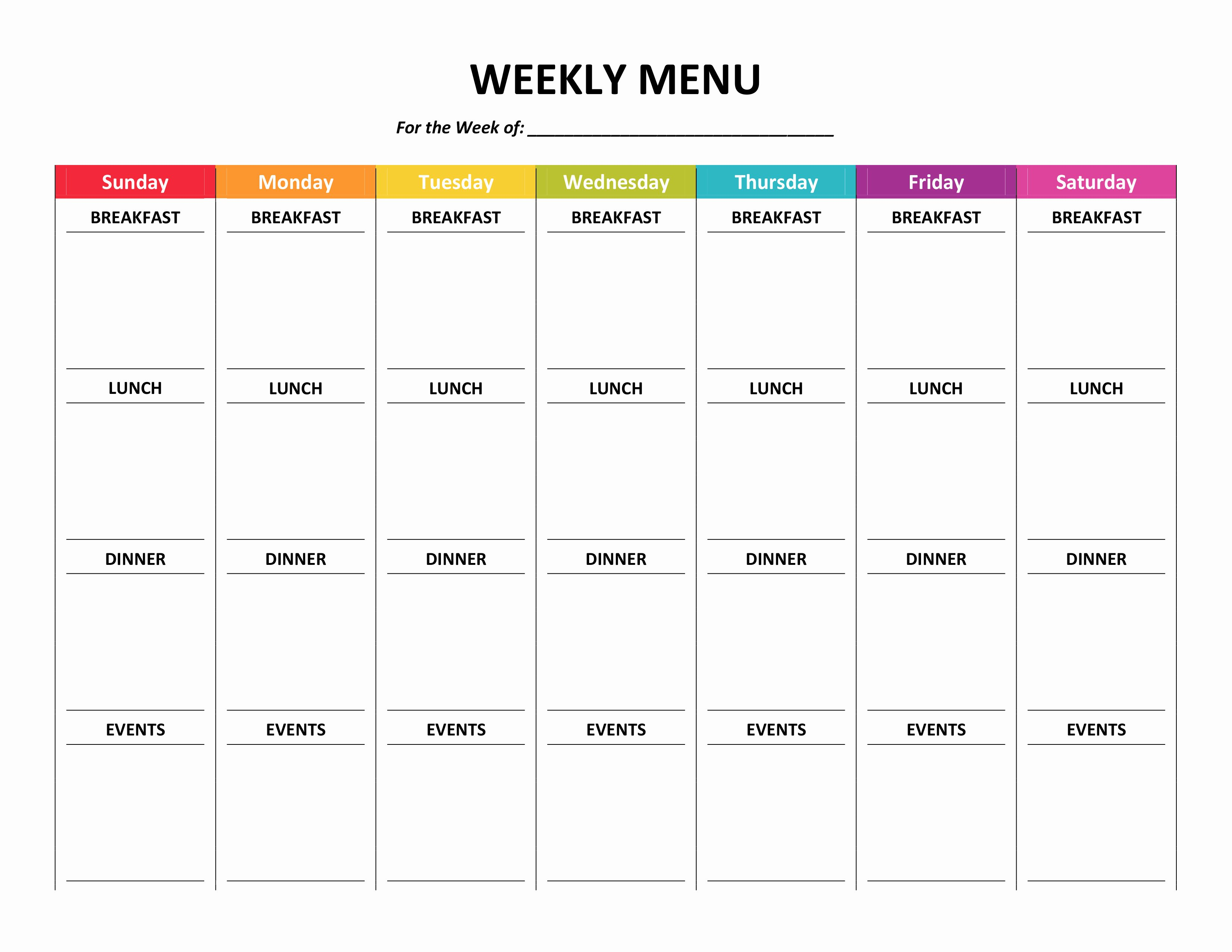 Blank Weekly Menu Template Fresh Menu Planner
