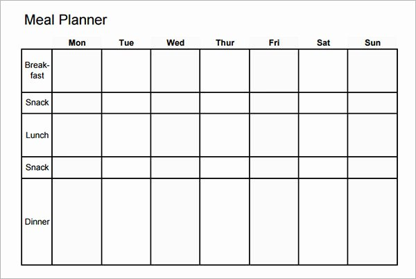 Blank Weekly Menu Template Lovely 18 Meal Planning Templates Pdf Excel Word