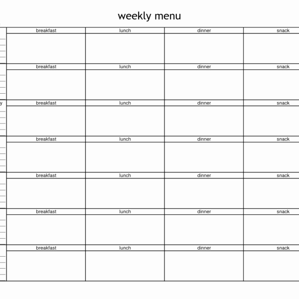 Blank Weekly Menu Template New Blank Weekly Menu Planner Template