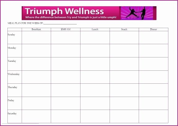 Blank Weekly Menu Template New Free Meal Planning Template Triumph Wellness