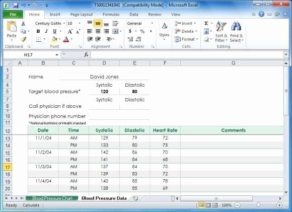 Blood Pressure Log Excel Beautiful 5 Blood Pressure Chart Templates Word Excel Templates