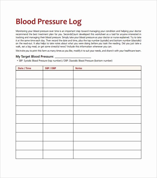 Blood Pressure Log Excel New Blood Pressure Log Template – 10 Free Word Excel Pdf