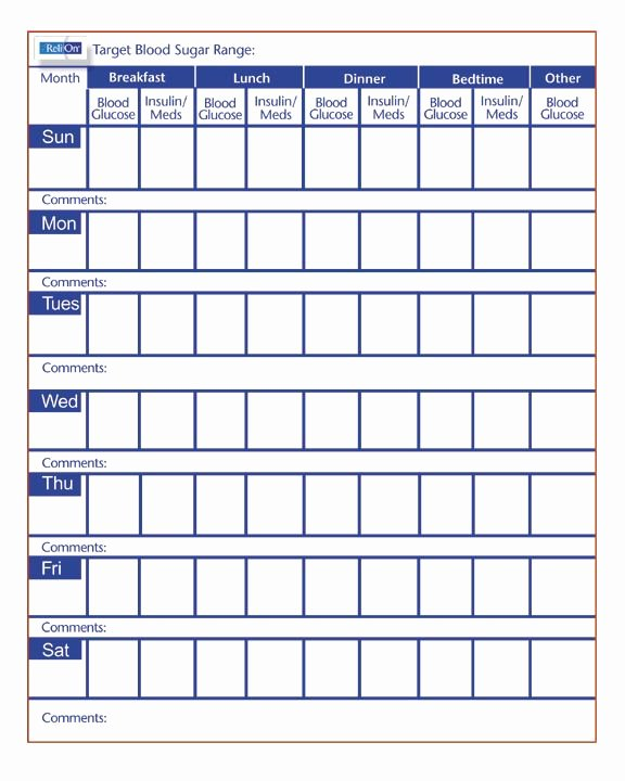 Blood Sugar Log Template Excel Lovely Free Printable Blood Sugar Log