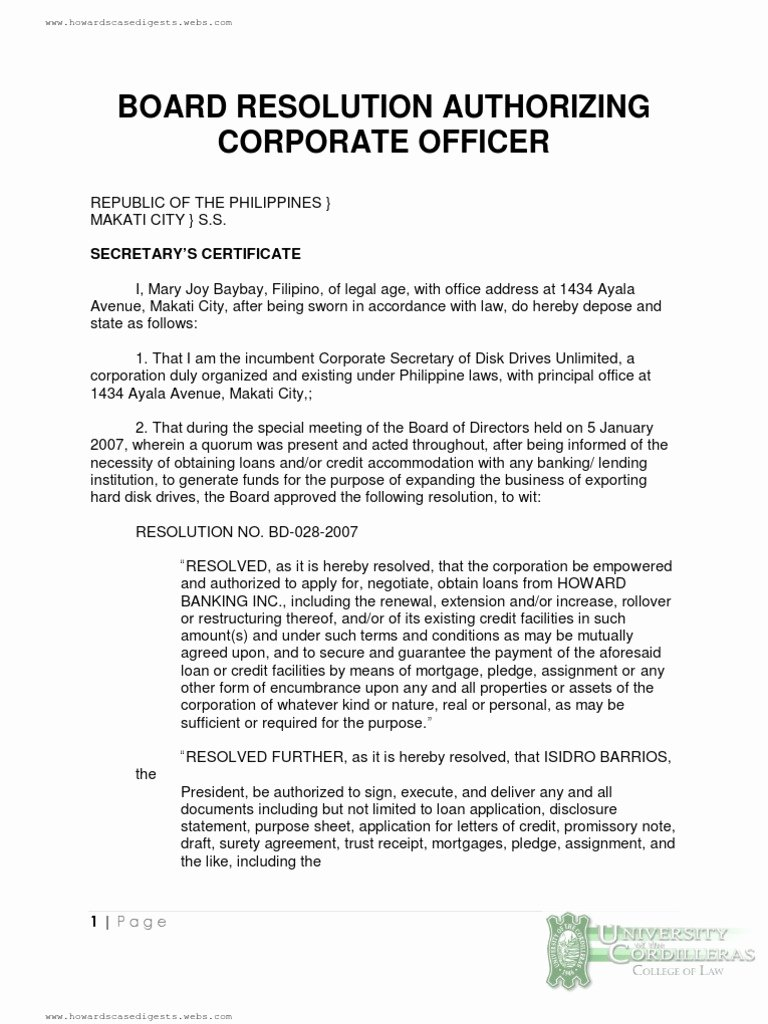 Board Of Directors Resolution Fresh Board Resolution Authorizing Corporate Ficer