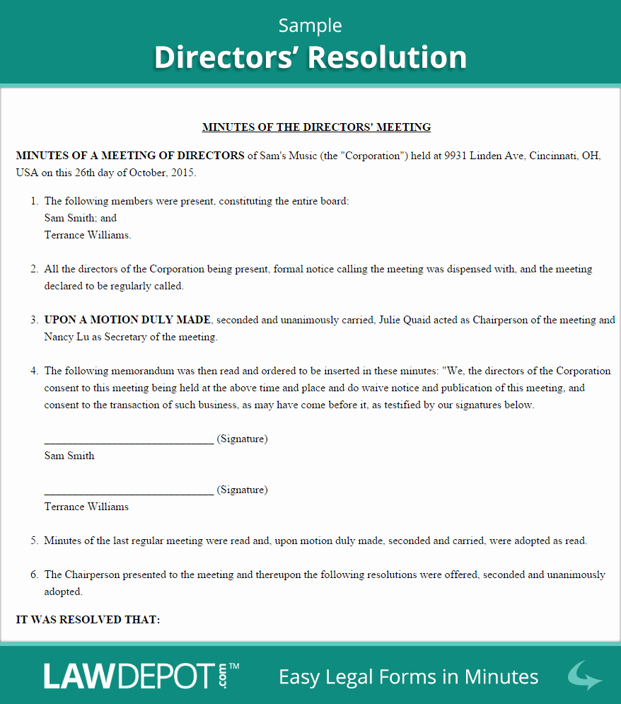 Board Of Directors Resolution Lovely Directors Resolution form