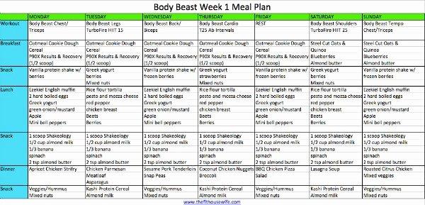 Body Beast Meal Plan Spreadsheet Awesome Women S Body Beast Week 1 Meal Plan