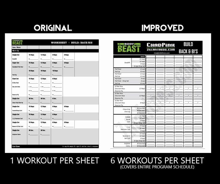 Body Beast Meal Plan Spreadsheet Beautiful Body Beast Workout Sheets Post Parison orginal 2016