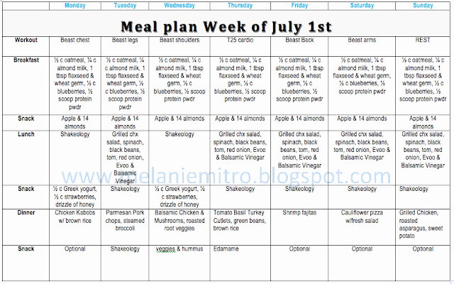 Body Beast Meal Plan Spreadsheet Inspirational Mitted to Get Fit Body Beast T25 Month 1 Workout Schedule