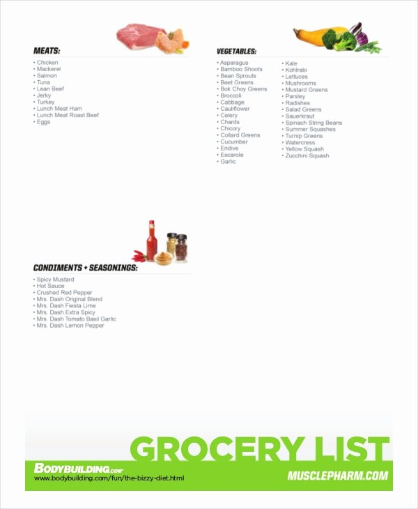 Bodybuilding Meal Plan Template Luxury Bodybuilding Grocery List
