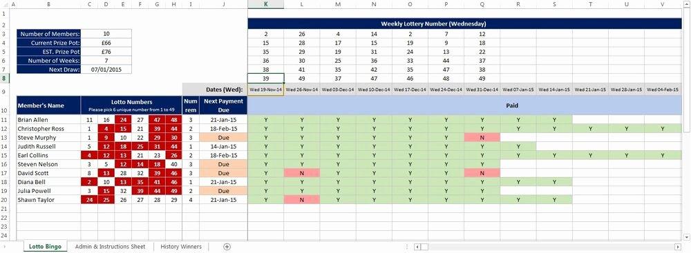 Bonus Plan Template Excel Luxury Uk National Lottery Lotto Bingo and Bonus Ball Syndicate