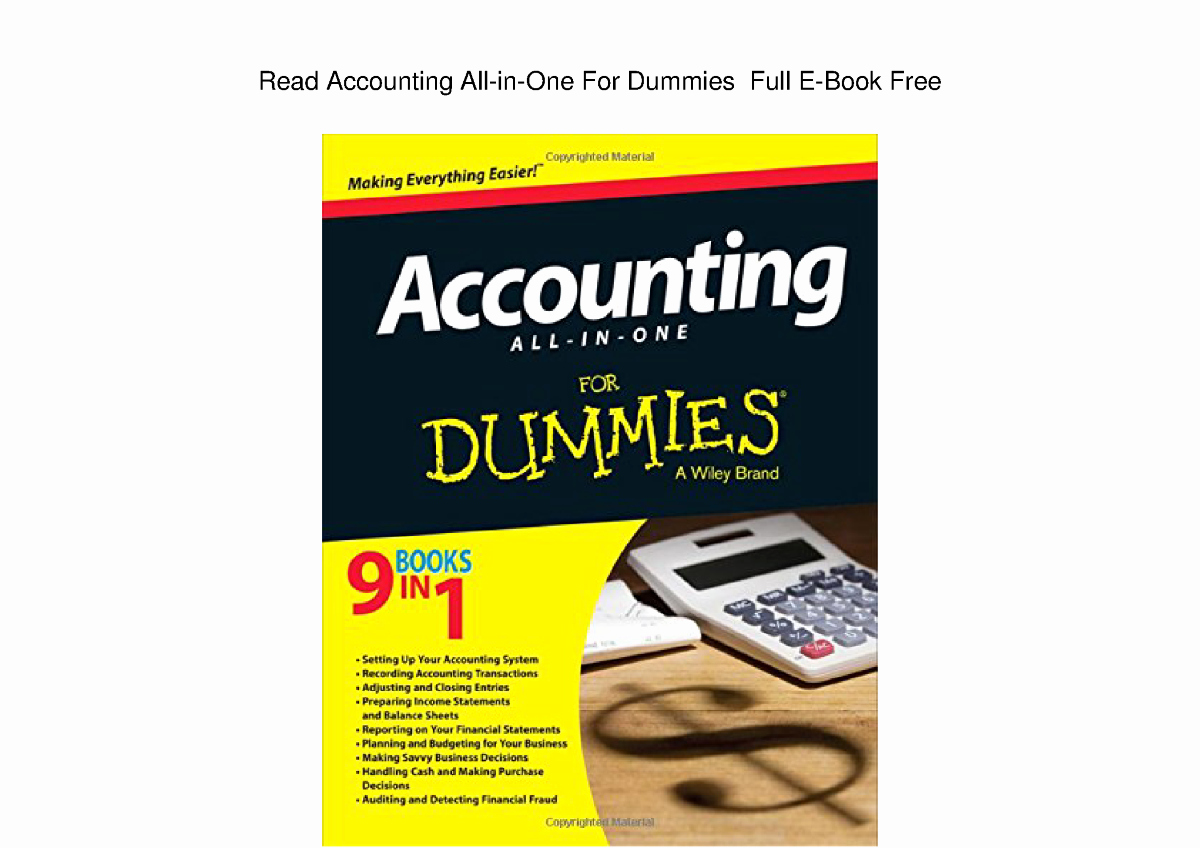 Book for Dummies Template Fresh Read Accounting All In E for Dummies Full E Book Free