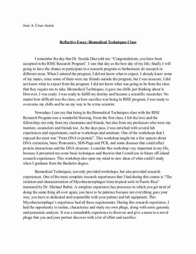 Book Reflection Paper Example Beautiful Reflective Essay Biomedical Techniques