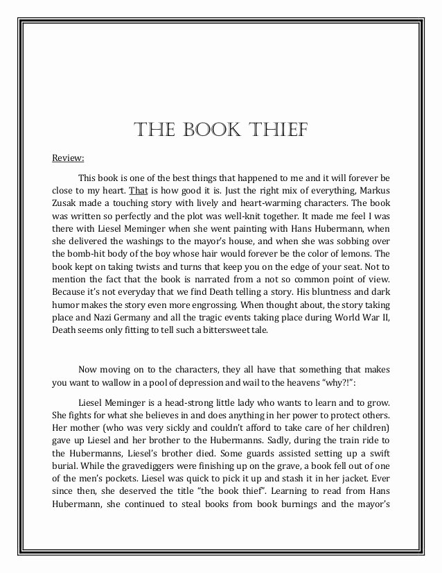 Book Reflection Paper Example Unique A Review Reflection On the Book Thief