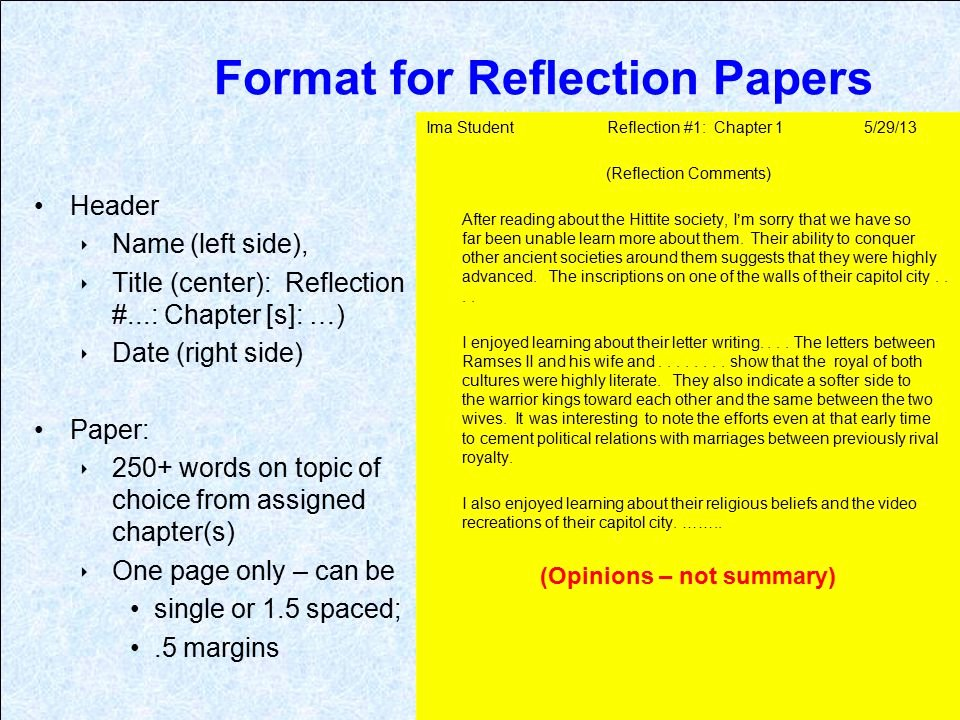 Book Reflection Paper Example Unique Introductory Info for 1211 assignments Ppt Video Online